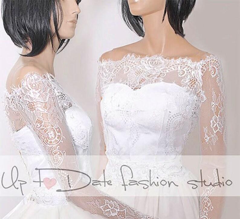 81a8c09753b Off-Shoulder wedding bolero lace bridal cover upbridal shrug