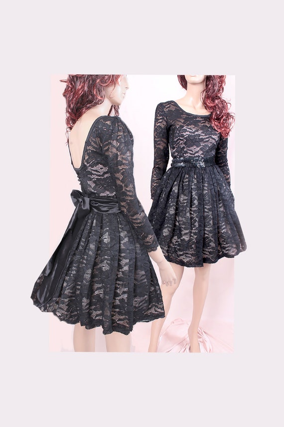 Little Black Lace Dress Short Wedding Party Cocktail Dress With 34 Sleeve Romantic Dresshomecoming Dress