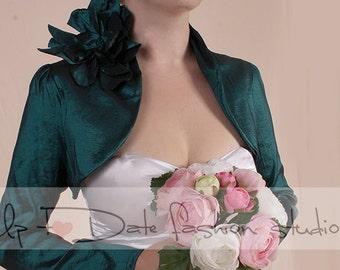 Dark emerald green wedding jacket/ taffeta cover up/custom color/shrug with long sleeve /jacket with handmade flovers/shrug/ wrap