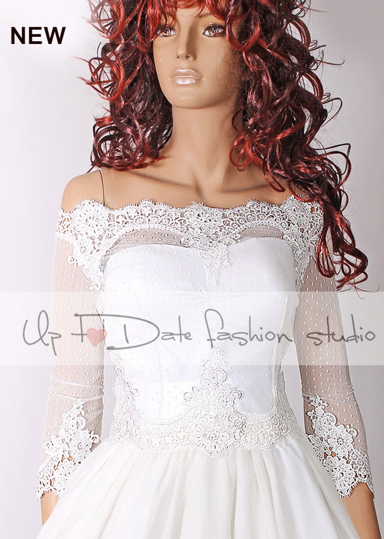 614222d8cca Plus Size Bridal Off-Shoulder wedding Lace cover up Bolero
