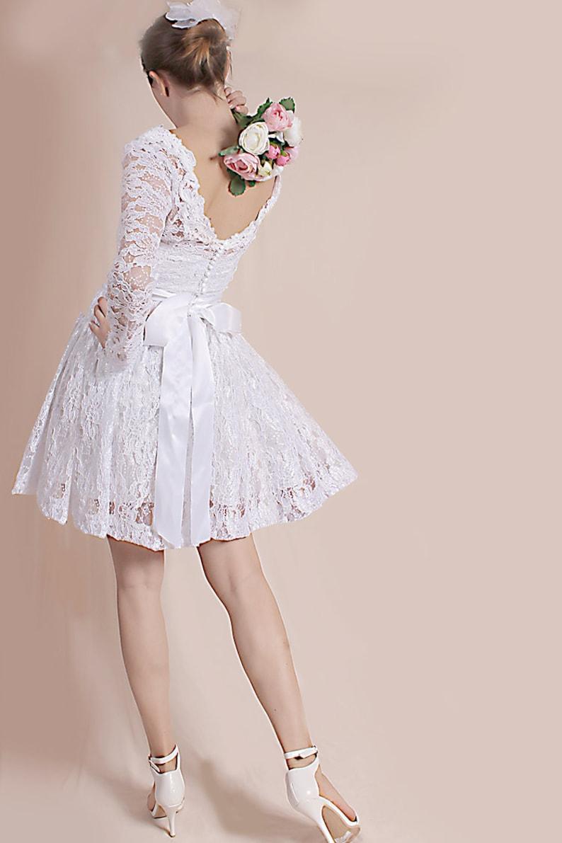 Plus Size lace white bridal gown short wedding party dress | Etsy