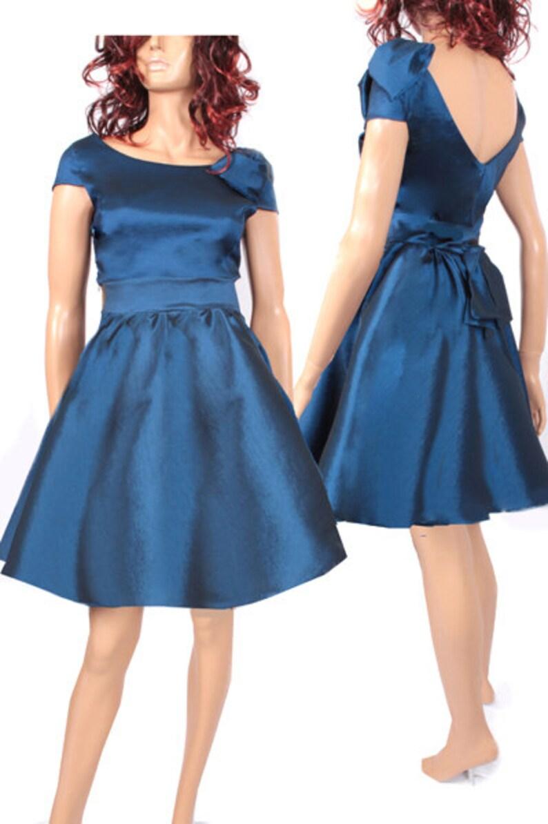 Navy Blue Taffeta Short Bridesmaid Dress Wedding Party Etsy