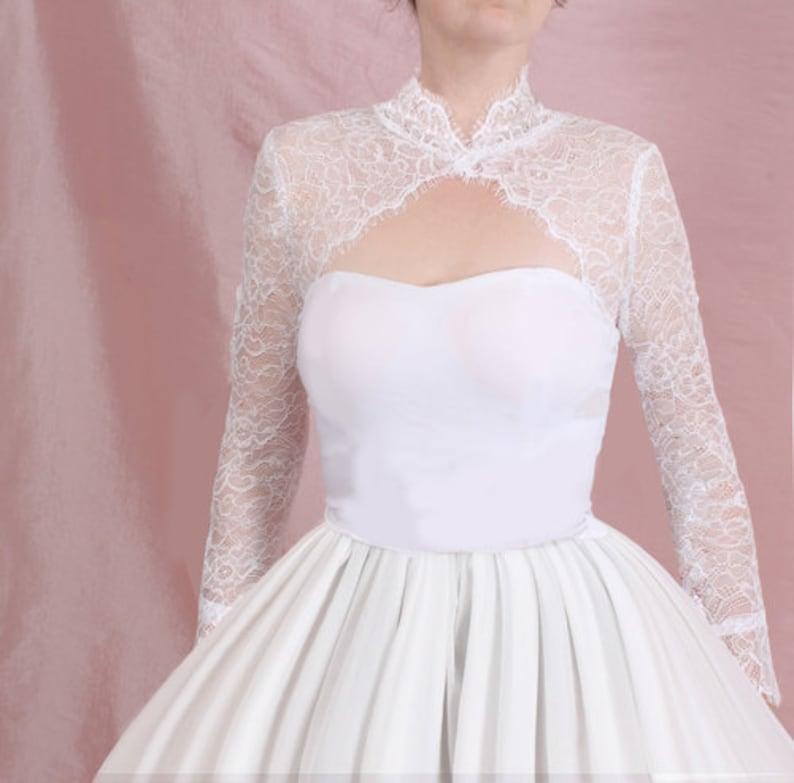 4be991e5b8e Bridal lace jacket lace wedding bolero with long sleeve