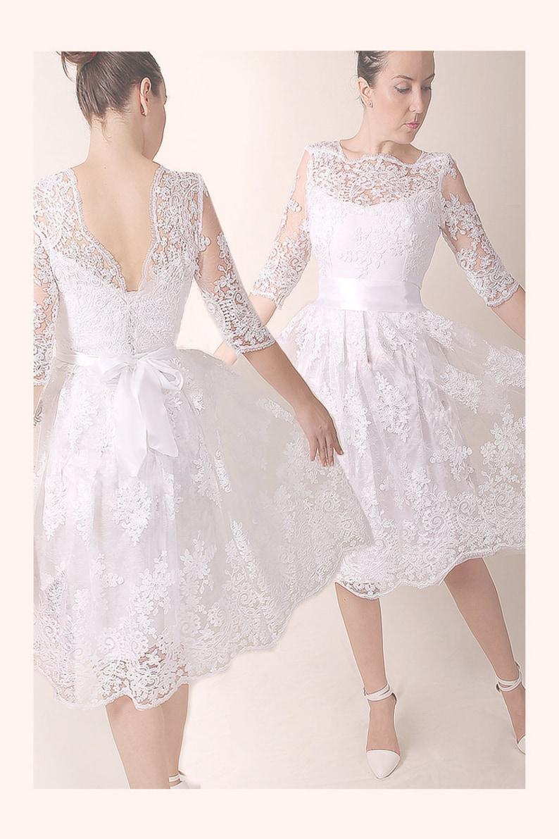 2fcf581bb6e5 Lace plus size short bridal gown/ Wedding party dress V | Etsy