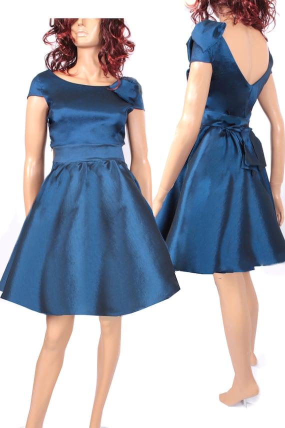 Plus Size Navy Blue Taffeta Bridesmaid Dress Wedding Party Etsy