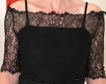 Black wedding bolero/ bridal shrug /lace  off shoulder jacket/ cover up/ shrug 3/4  sleeve
