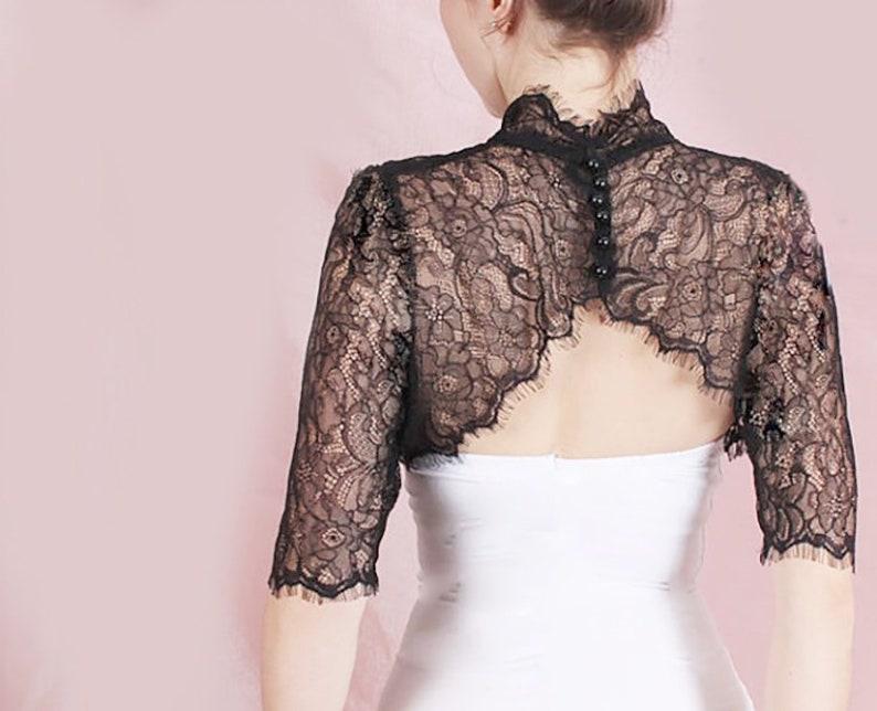 4d30463d6ad Black ivory white wedding lace bolero bridal cover up