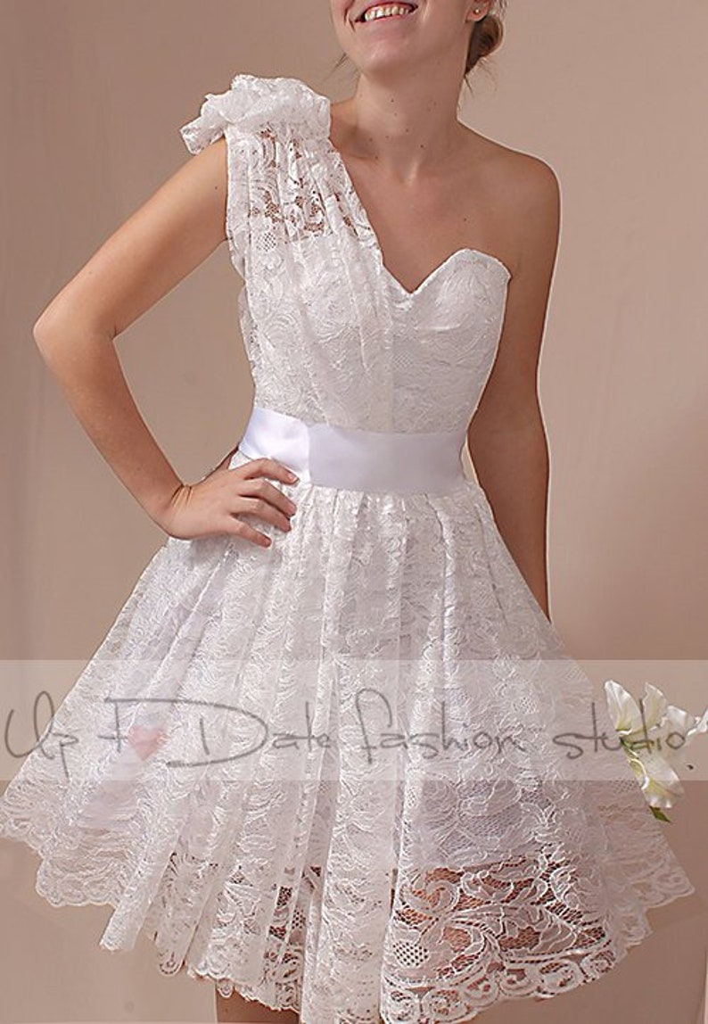 Plus size Lace one shoulder short lace wedding dress Custom | Etsy