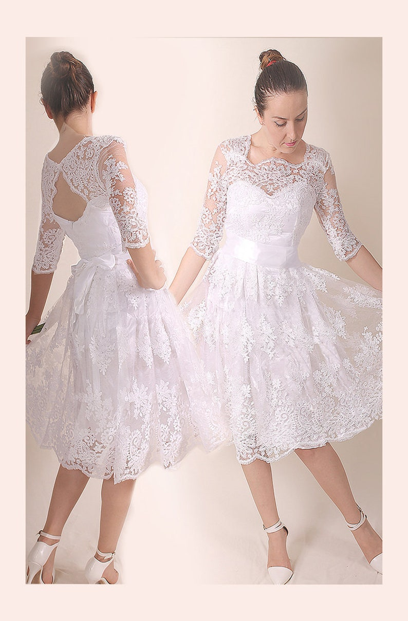5b6430ae0db6 Lace short wedding dress bridal custom made gownwedding | Etsy