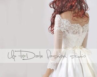 Off-Shoulder cover up/lace wedding jacket/Bridal  bolero/shrug/jacket /bridal lace top/shrug/wrap/topper