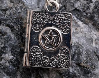 Sterling silver book of shadows grimoire locket pentagram pentacle locket necklace 925