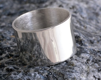 Silver plain band ring 12mm Sterling Silver Plain Ring Handmade choose your size custom made to order 925