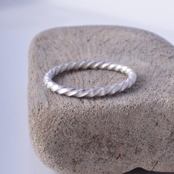 CUSTOM MADE Sterling Silver Spiral Stacking Ring Handmade