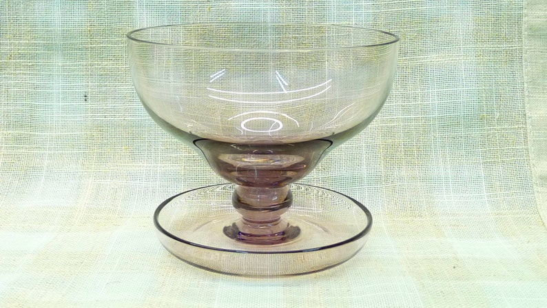 Vintage Candy Bonbon Glass Dessert Bowl or Dish Sweets Dessert glass mid century Attached Saucer or Plate homeware Purple