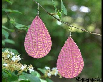 Pink Gold Leather Teardrop Earrings - Leather Earrings - Genuine Leather Earrings - Colorful Earrings - Lightweight Earrings - Textured