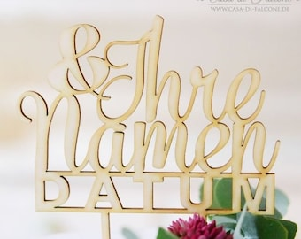 Cake Topper I pie plug wedding with name and date, Classic III