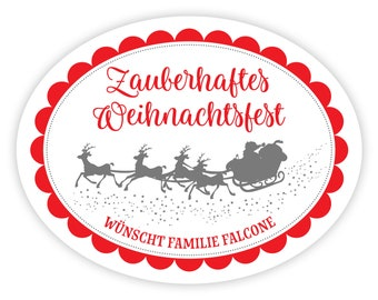 Personalized Stickers Christmas, Christmas Sleigh