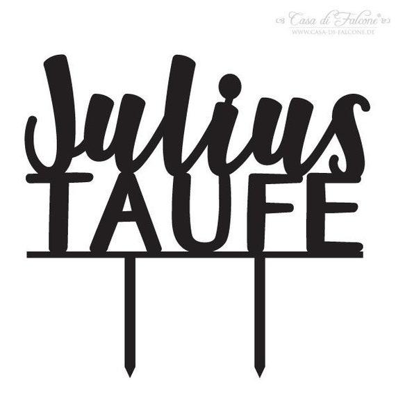 Personalisierter Cake Topper Zur Taufe Kalligrafie