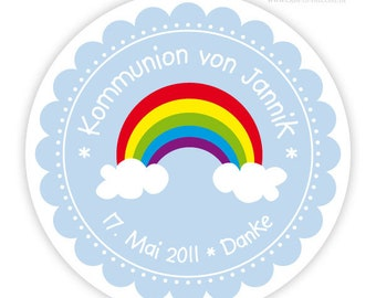 Stickers for baptism rainbow, personalized