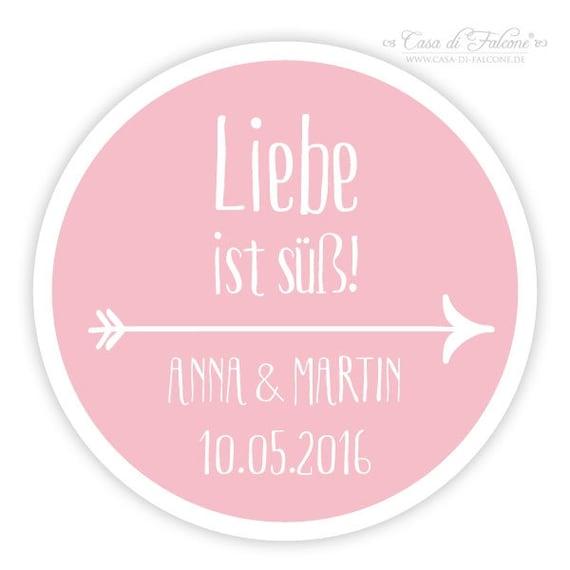 Personalisierte Aufkleber Hochzeit Mit Namen Datum Pfeil