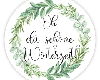 Christmas stickers - oh you beautiful winter time, wreath green