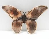 Vintage Copper Butterfly Brooch, Textured Design Work, Art Nouveau Style