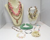 13 Piece Vintage Shell Jewelry / 10 Necklaces And 3 Bracelets / Beach Jewelry / Nothing Broke
