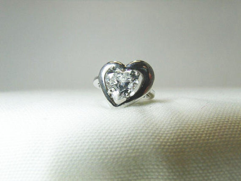 8e9652717f6bb Sterling Heart Shape Crystal Ring, DQ 925 Sterling Silver KR Ring With a 2  Carat Crystal / Ladies Size 5 Diamond Quality Ring