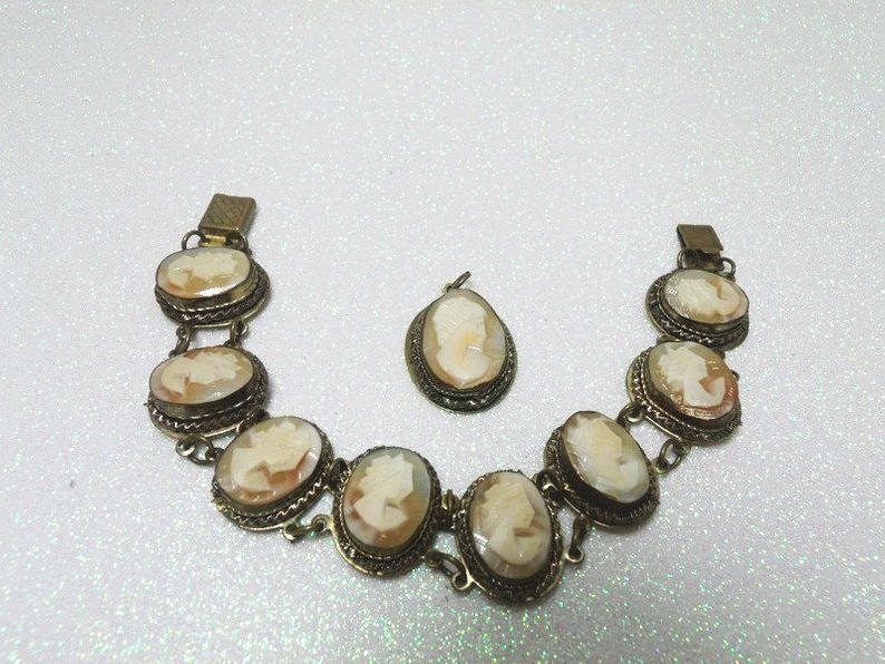 ecff03bee9a0a 800 Silver & Carved Shell Cameo Bracelet With Matching Pendant, Antique  Wire Wrapped Cameo Set