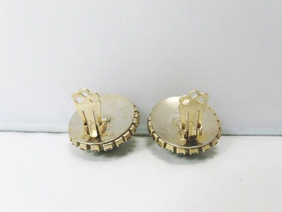 Vintage CORO Pearl Earrings / Light Green Faux Pe… - image 5