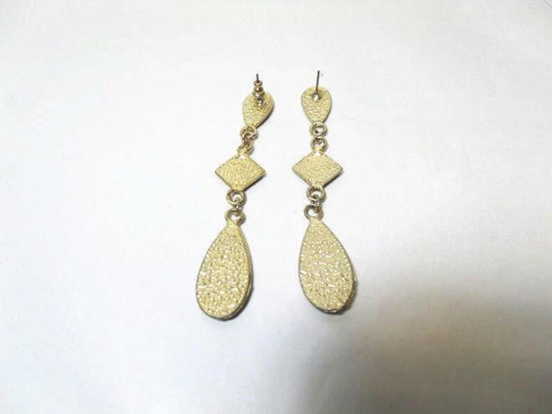 Enameled Dangle Pierced Earrings  Art Deco Style Gold Tone Earrings