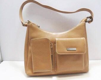 Jenny Buchanan Vintage Handbag / Tan Shoulder Bag With Outside Eye Glass Pocket