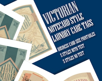 Victorian Style Care or Gift Tags, Laundry Care Instructions, 5 Styles • For Crafters, Sewing, Knitting, Crochet,  Hi Resolution Images