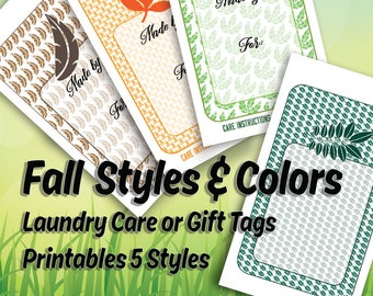 Autumn Style Care or Gift Tags, Laundry Care Instructions, 5 Styles • For Crafters, Sewing, Knitting, Crochet,  Hi Resolution Images