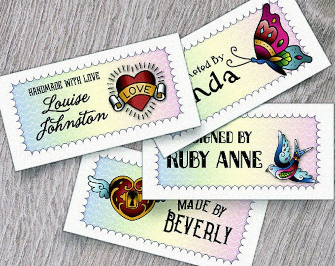 "Custom Fabric Labels, Tags,  2.25""W x 1.125""H, Personalized, Custom Sizes, Custom, Tattoo-Style Art, 100% Cotton, Colorfast, Washable, Uncut"