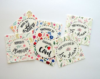 Flower Fields Fabric Labels, Personalized with Your Name, Uncut, Iron on or Sew on, Various sizes, Made to Order Fabric Tags