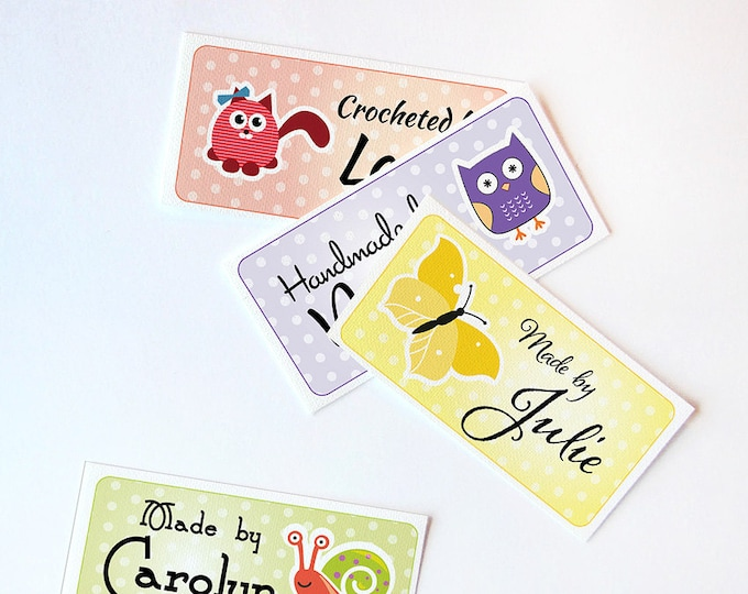 "Custom Fabric Labels, Sew-on, Iron-on, 80 Labels,  2 x 1"", Uncut, Your Name Added, Colorfast 100% Preshrunk Cotton,  10 Clip Art Animals"