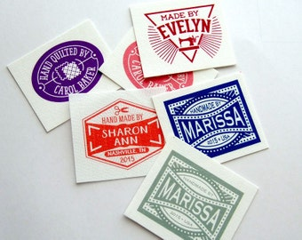 """Union Label Style Custom Fabric Labels, 100% Cotton, 1.5 x 1.25"""", 60 labels, Your Name, Sewing and Yarn Craft Icons, Made to Order"""