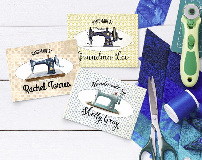 """Custom Fabric Quilt Labels, Sew-on, Iron-on, 24 Labels, 3""""W x 2""""H, Uncut, Your Name Added, Colorfast 100% Preshrunk Cotton, Printed"""