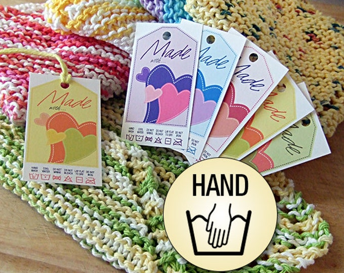 Laundry Care Tags Hand Wash for Hand Made Items