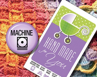 Laundry Care Tags  Machine Wash  for Hand Made Baby Shower Gifts