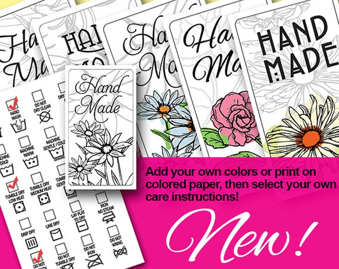 Laundry Care Tag Printables:  NEW -  Choose Your Own Instructions - Line Art - Add Your Own Color - Print On Tinted or Special Papers