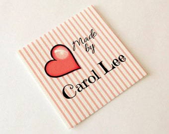 Sweetheart Styles Fold-over or Flat Fabric Labels  —  100% Cotton Colorfast Washable  — Uncut