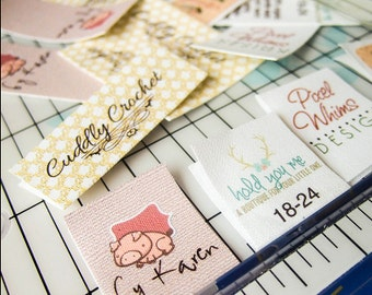 Folding Custom Fabric Labels or Tags, Custom Sizes, Your Logo, Your Text, Custom Clip Art, 100% Cotton Colorfast Washable, Uncut