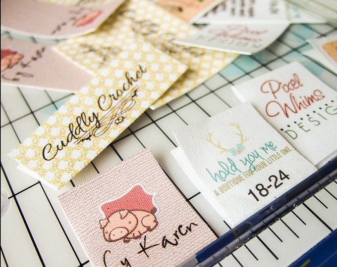Folding Fabric Labels, Personalized Tags, Printed Clothing Labels, Customized, Your Logo, Your Text, 100% Cotton, Colorfast, Washable, Uncut