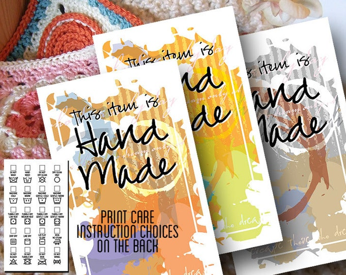 Laundry Care Tags - Grunge Designs - For Hand Made or Hand Crafted Gifts - Business Card Size - Printables