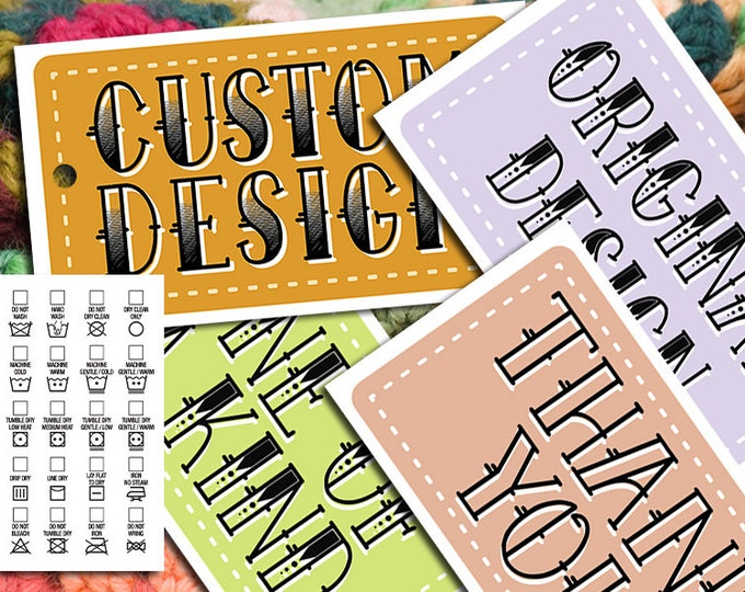 Tattoo Font Printable Laundry Care Tags • 2 x 3.5 inches • DIY on Business Card Paper • Fun Typography • 5 Versions and Thank You Card