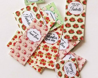 Fold-over Custom Fabric Labels,  Tags,  Personalized, Printed, Custom Sizes, Country Floral, 100% Cotton,  Washable, Uncut, Beautiful!