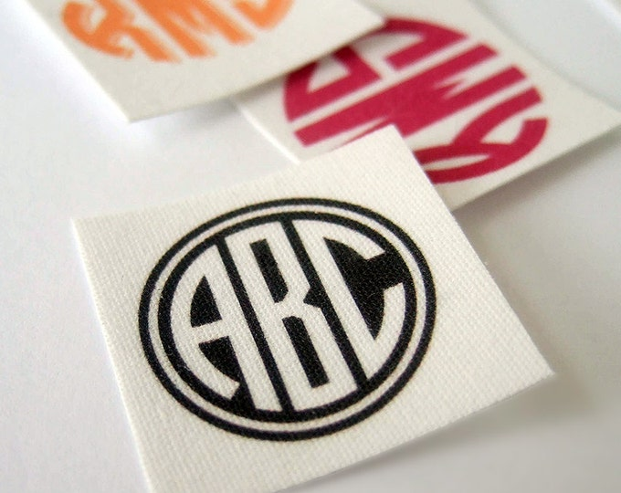 "Monogram Custom Designed Fabric Labels or Tags – Square Labels – 1 x 1"" and Other Sizes – 100% Cotton – Iron on or Sew On – Uncut 80 Labels"