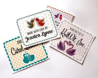 "Custom Fabric Quilt Labels, Blankets, 2.75""W x 2""H, 15 Labels Per Sheet, Personalized, Printed, 100% Cotton, ""Country Kitchen"", Uncut"